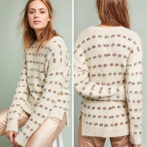 Anthropologie Moth Metallic Check Sweater